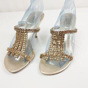 Pelle Moda Jeweled Leather Heels